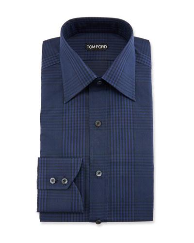 Men's Prince of Wales Plaid Dress Shirt
