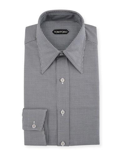 Men's Hopsack Pointed-Collar Dress Shirt