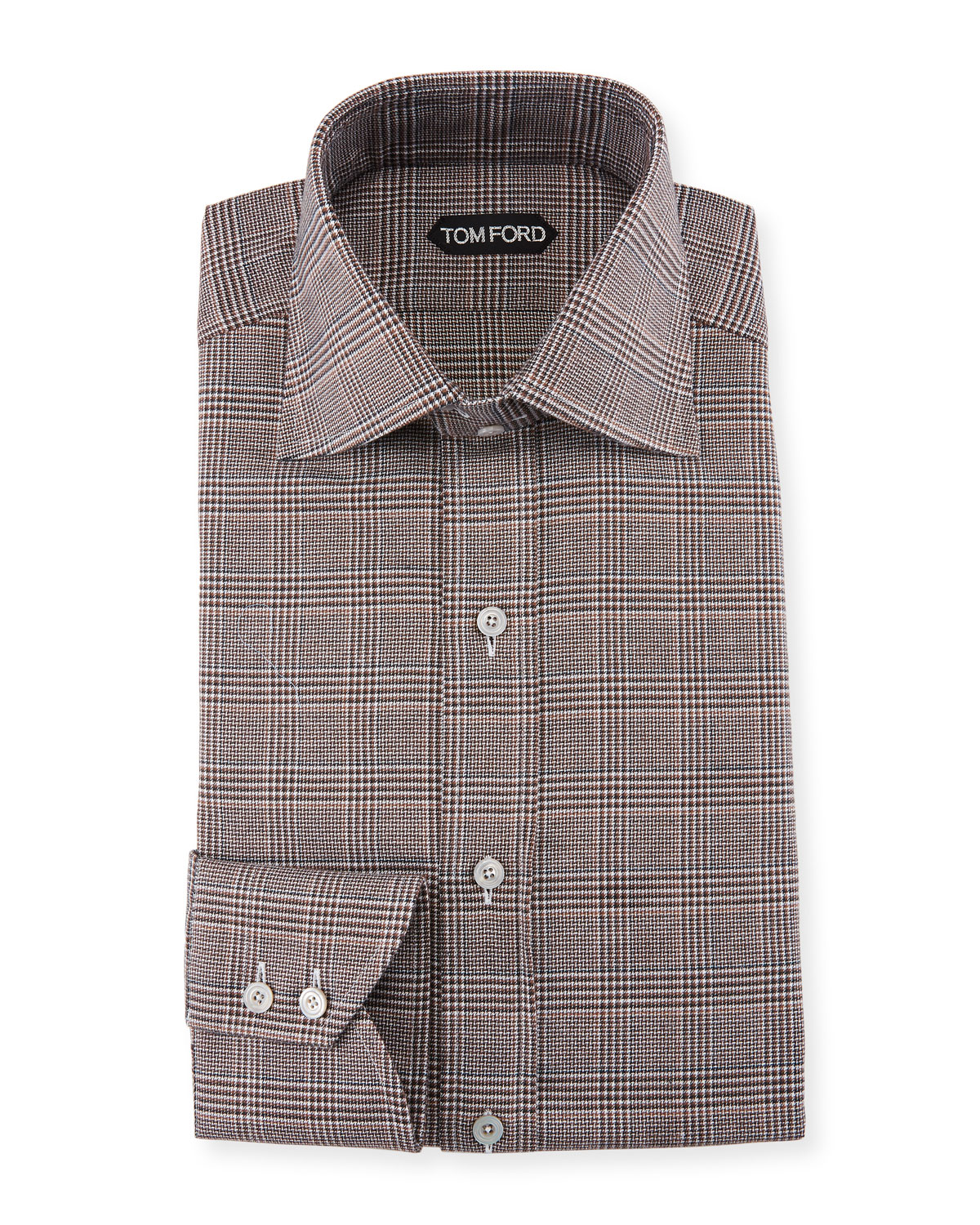 Tom Ford Mens Prince Of Wales Twill High Collar Dress Shirt