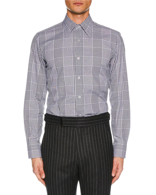 Tom Ford Mens Prince Of Wales Plaid Dress Shirt Neiman Marcus