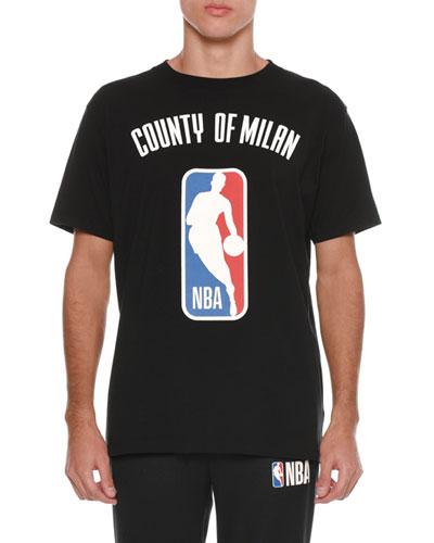 Men's NBA Basketball County of Milan Logo T-Shirt