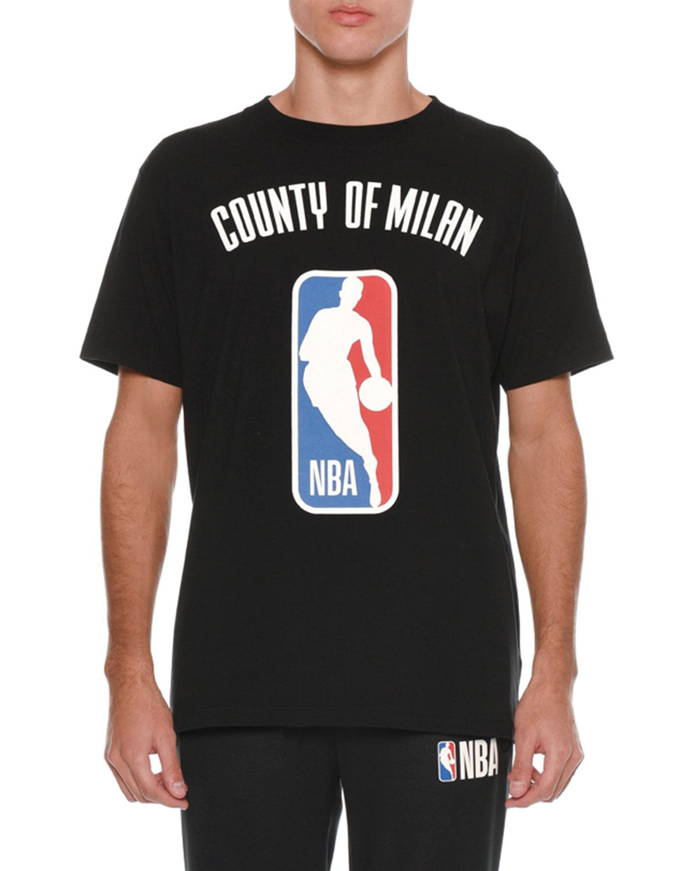 55b110dbf Marcelo Burlon Men s NBA Basketball County of Milan Logo T-Shirt ...
