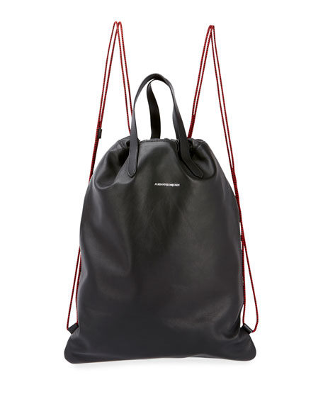 Alexander McQueen Men's Leather Drawstring Sling Backpack