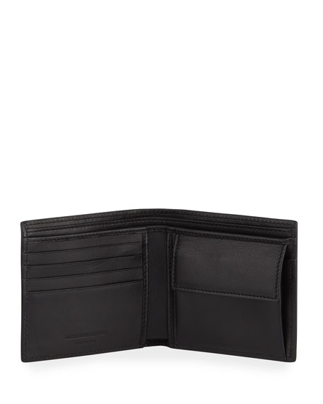 Men's Rib Cage-Embossed Leather Bi-Fold Wallet