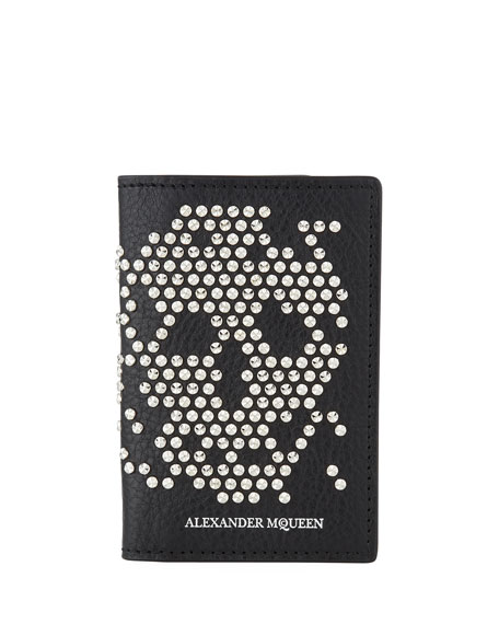 Alexander McQueen Men's Skull Studded Leather Tri-Fold Wallet