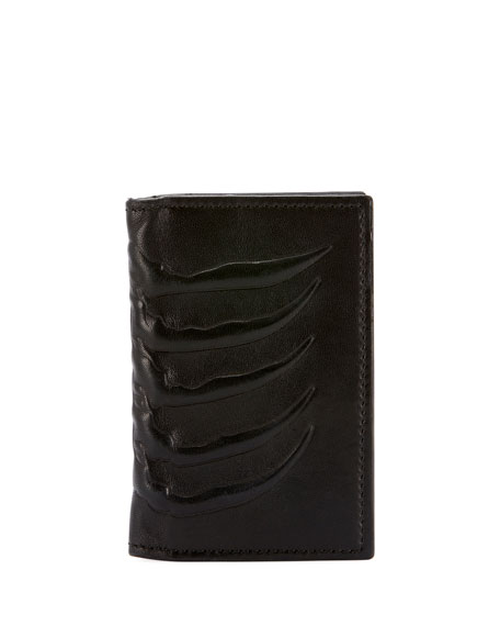 Men's Rib Cage-Embossed Leather Organizer Wallet