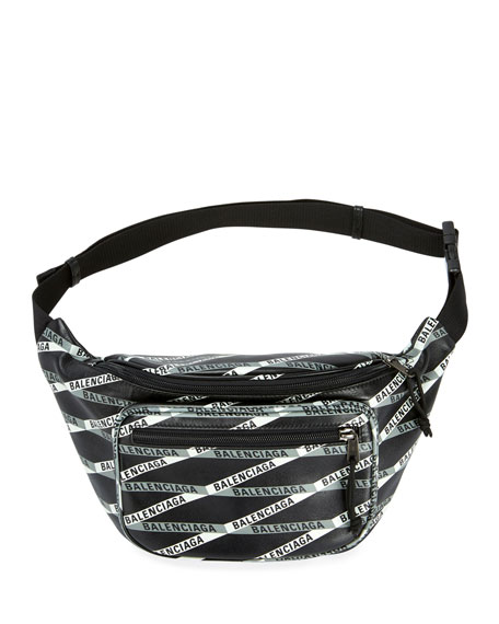 Balenciaga Men's Logo Tape-Print Leather Fanny Pack Bag