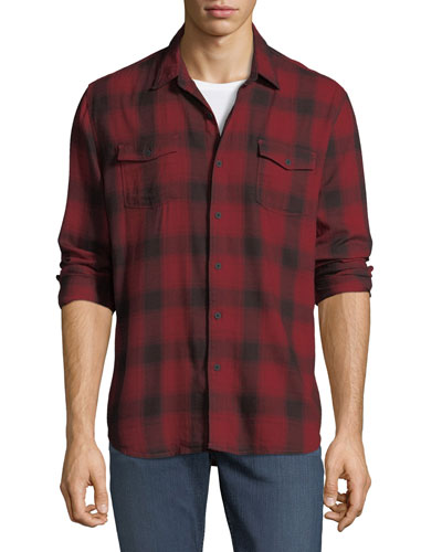 Everett Long-Sleeve Plaid Sport Shirt