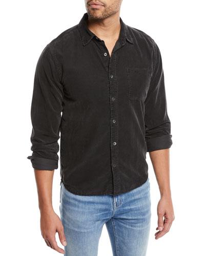 Men's Button-Front Long-Sleeve Corduroy Shirt