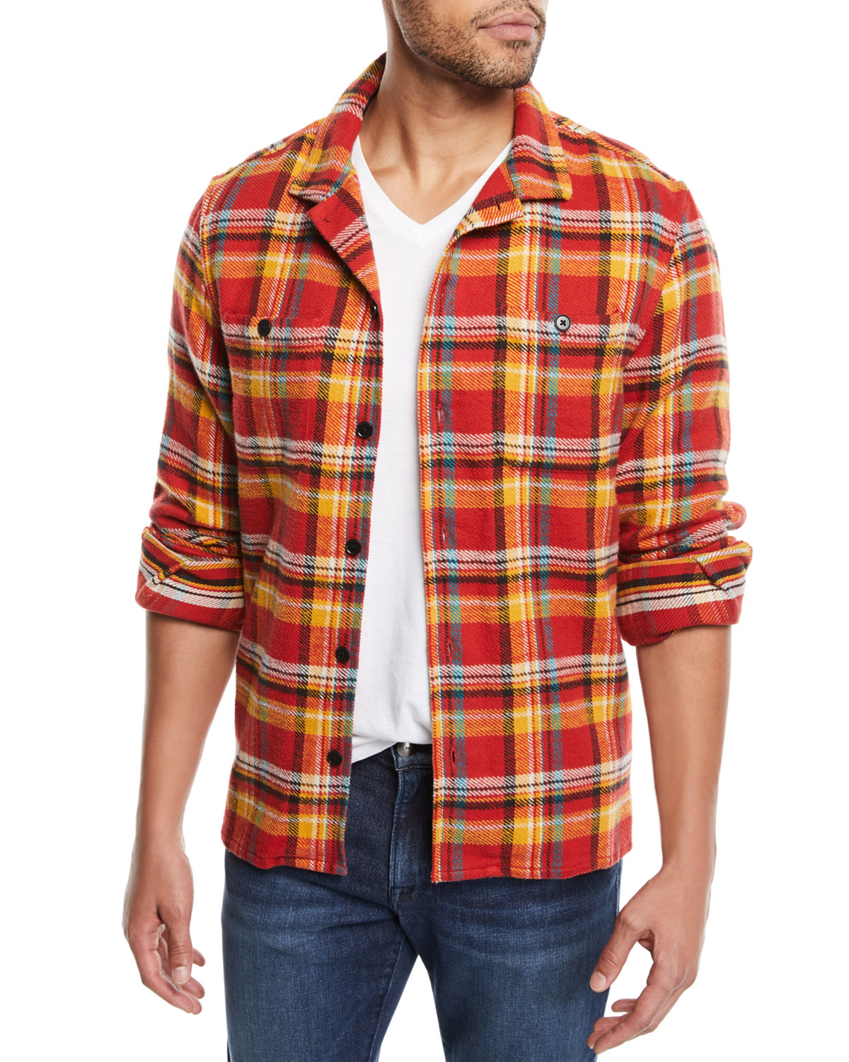 Frame Men S Button Front Plaid Flannel Shirt Jacket Neiman Marcus