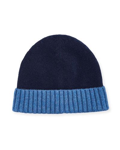 Men's Cashmere Contrast-Cuff Beanie Hat