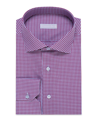 Men's Check Barrel-Cuff Dress Shirt, Blue/White