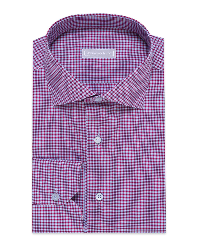 Stefano Ricci Men s Check Barrel-Cuff Dress Shirt 153940c2a