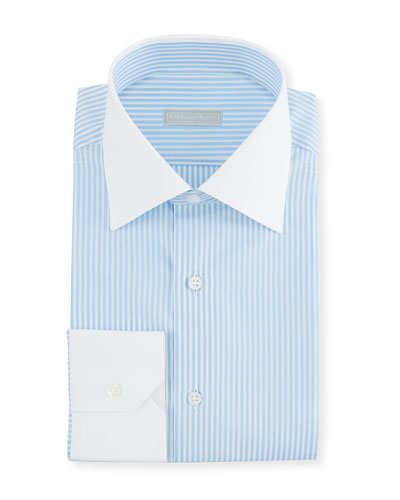 Men's Thin Stripe Dress Shirt with Contrast Trim