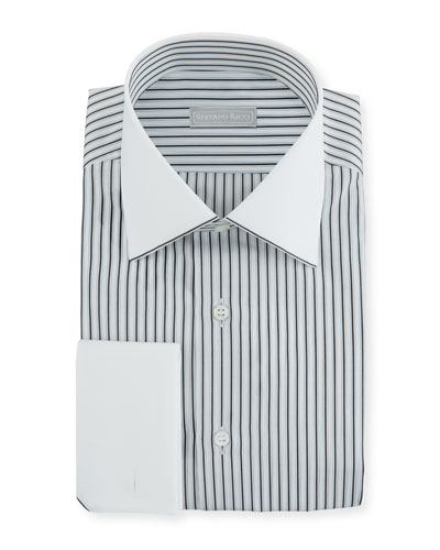 Men's Striped Dress Shirt with Contrast Trim