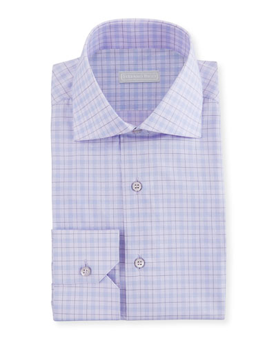 Men's Check Spread-Collar Dress Shirt
