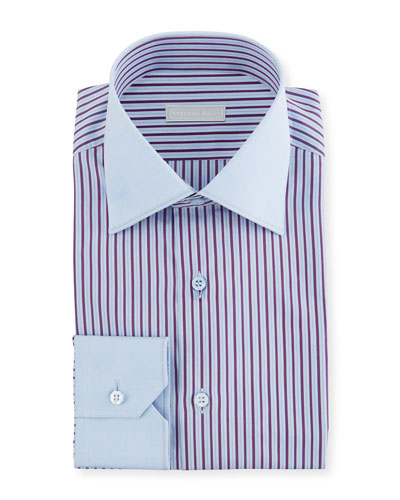 Men's Wide Stripe Dress Shirt with Solid Trim