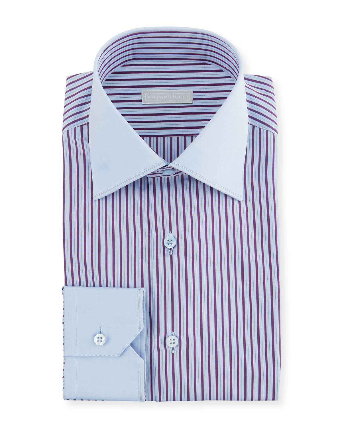 Stefano Ricci Mens Wide Stripe Dress Shirt With Solid Trim Neiman