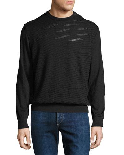 Men's Crewneck Sweater With Crocodile