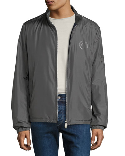 Men's Water-Repellent Silk Jacket with Leather Trim