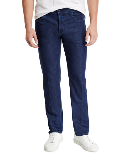 Men's Dark Denim Jeans with Leather Patch Detail
