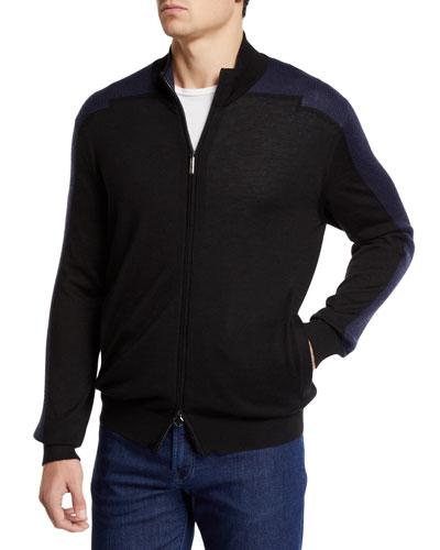 Men's Mock-Neck Full Zip Long-Sleeve Sweater