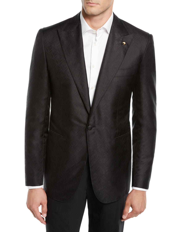 Stefano Ricci Solid Black Textured Dinner Jacket