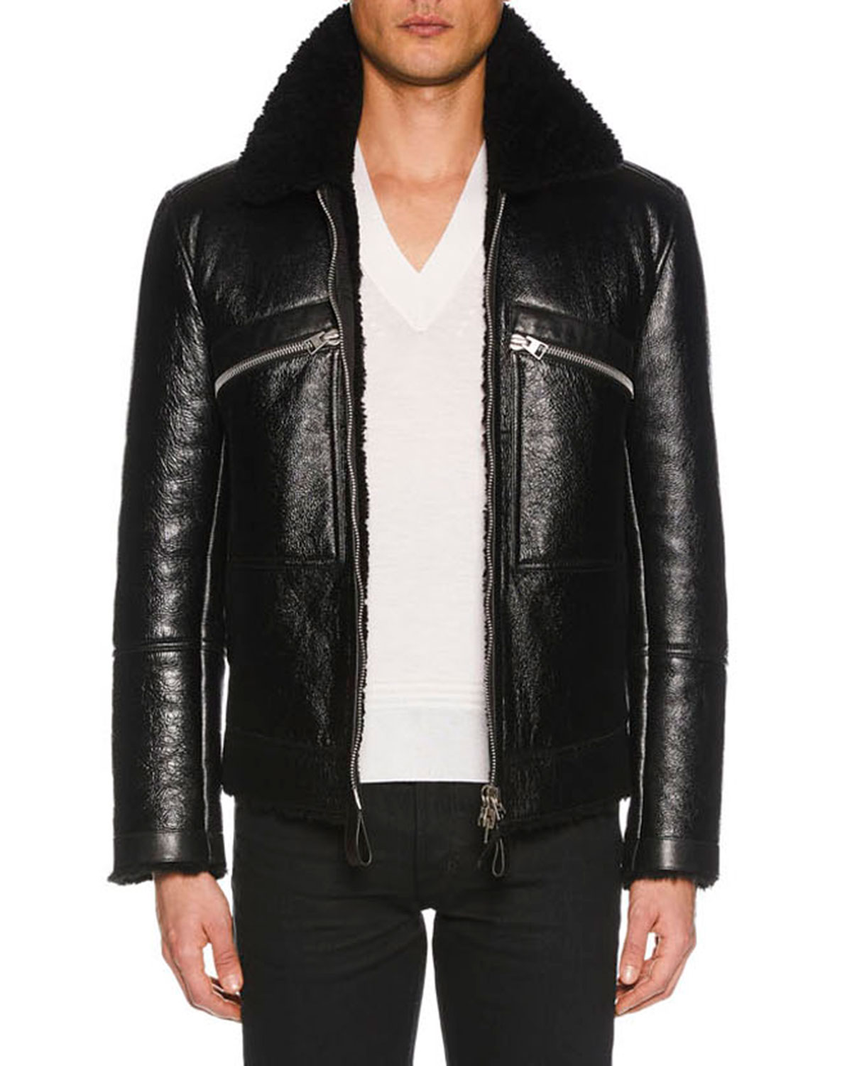 tom ford men 39 s cracked leather jacket with shearling trim. Black Bedroom Furniture Sets. Home Design Ideas