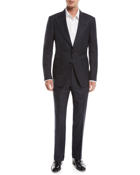 Shelton Peak-Lapel Check Two-Piece Suit