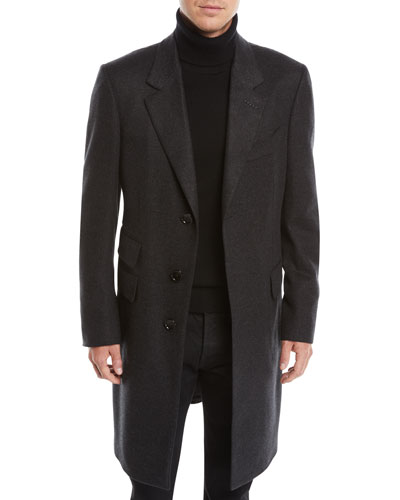 Men's Three-Button Cashmere Overcoat