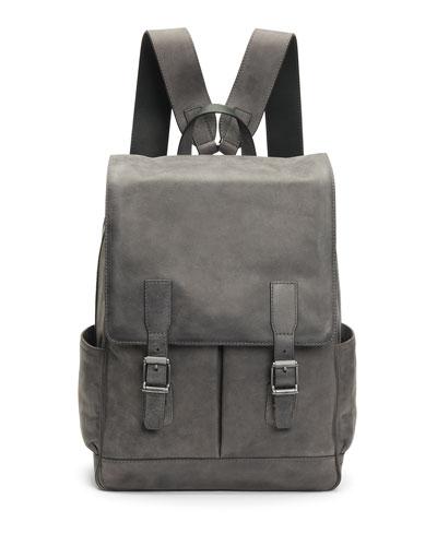Men's Oliver Leather Buckle Backpack, Slate