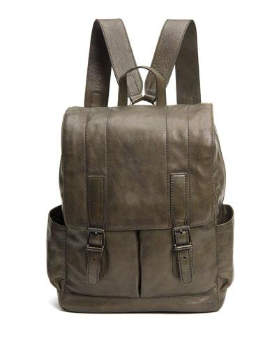 Men's Oliver Leather Buckle Backpack, Olive