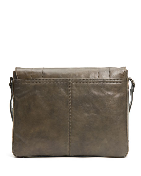 Frye Men's Oliver Leather Messenger Bag, Olive