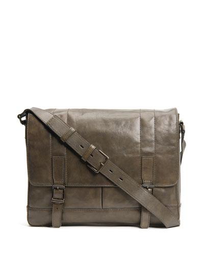 Men's Oliver Leather Messenger Bag  Olive