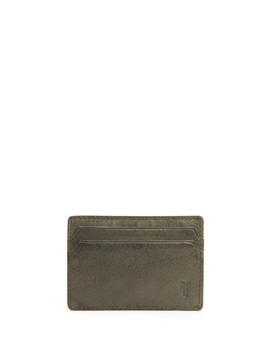 Men's Oliver Leather ID Card Case  Olive