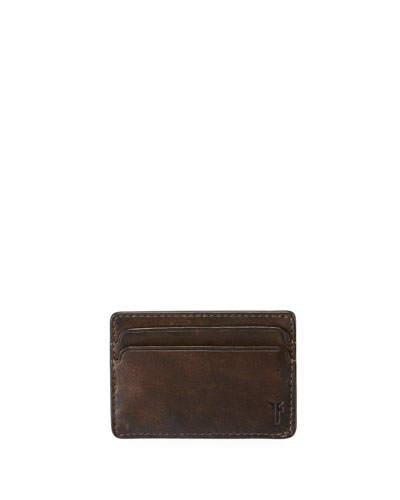 Men's Oliver Leather ID Card Case, Dark Brown