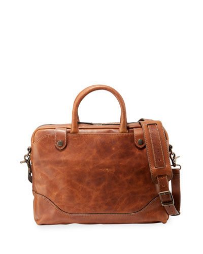 Men's Logan Slim Leather Briefcase, Brown