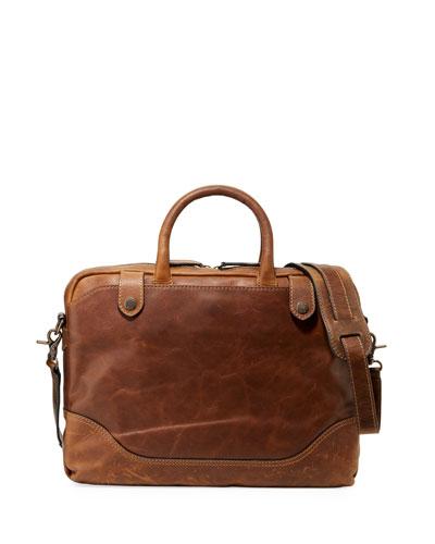 Men's Logan Slim Leather Briefcase  Dark Brown