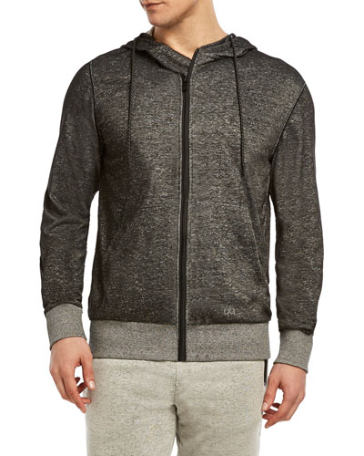 Zip-Front Hooded Speckled Knit Terry Jacket
