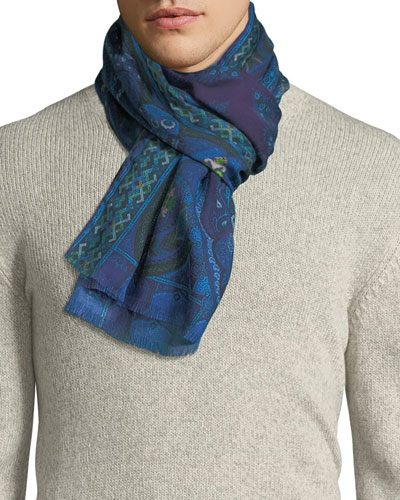 Men's Paisley Wool/Silk Scarf