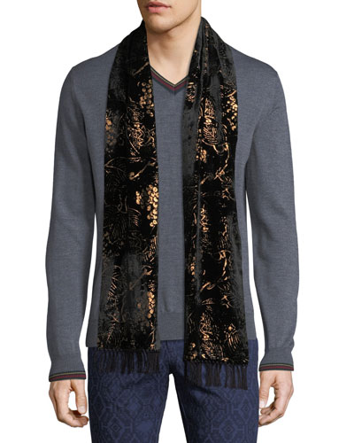 Men's Floral-Print Formal Scarf