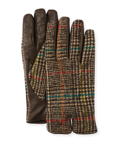 Men's Plaid-Back Leather Gloves