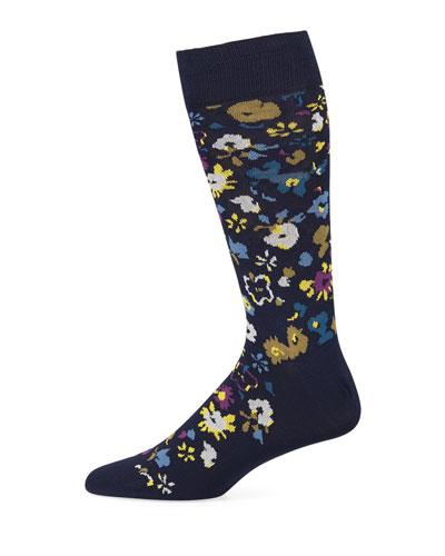 Men's Decoupage Floral Cotton-Blend Socks