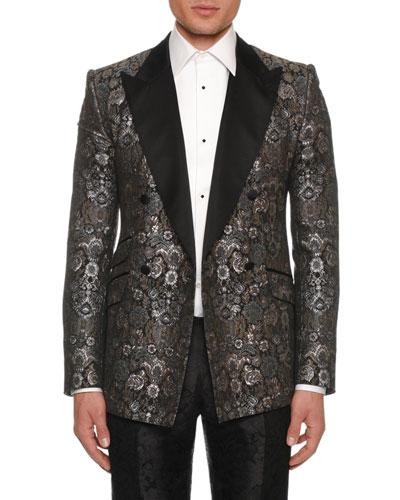 Men's Metallic Brocade Evening Jacket