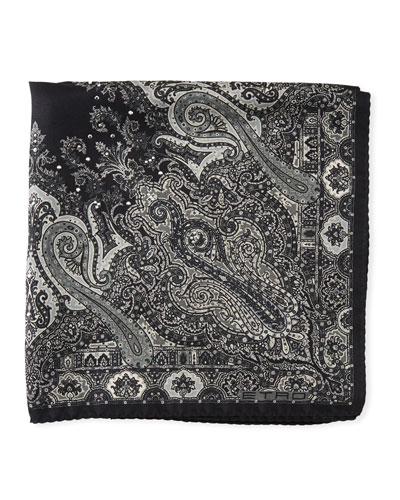 Formal Paisley Studded Silk Pocket Square