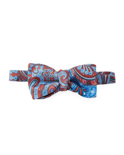 Pre-Tied Paisley Silk Bow Tie