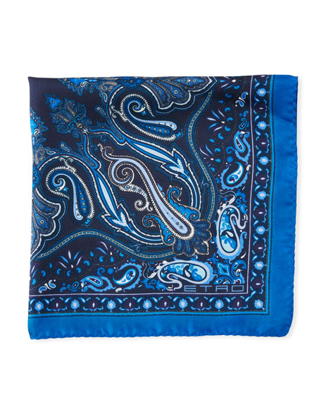 Framed Paisley Silk Pocket Square in Blue Pattern