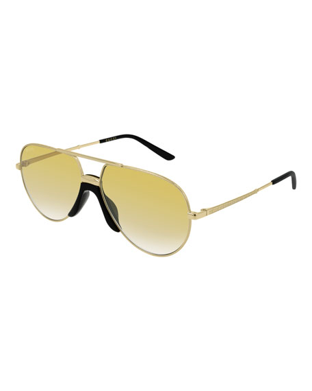 e6dd7df372 GUCCI MEN S AVIATOR GOLD-LENS SUNGLASSES