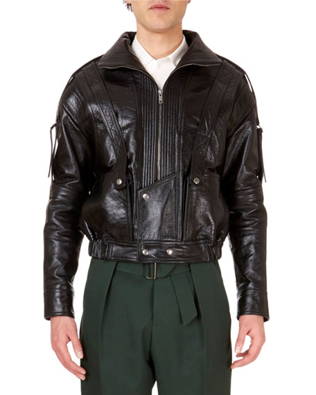 Givenchy Men's Zip-Front Calf Leather Jacket w/ Straps