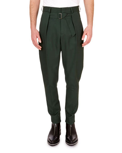 Men's Trousers with Pleats & Belt